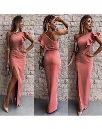 Дълга рокля по тялото в цвят корал - код 745