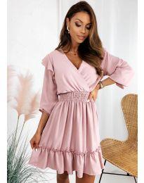 Свободна дамска рокля в розово - код 8554