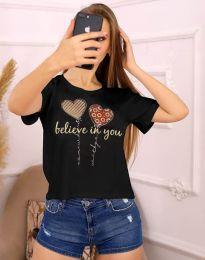 Дамска тениска с принт в черно - код 2547