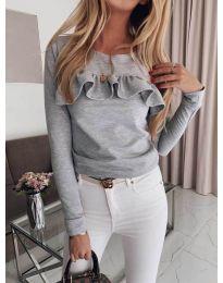 Блуза с къдрички в сиво - код 414
