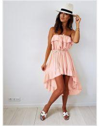 Асиметрична рокля в цвят пудра - код 054
