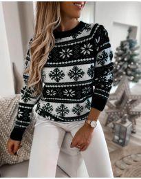 Дамски пуловер със зимен десен - код 5547 - 2