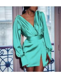Елегантна рокля тип прегърни ме в цвят тюркоаз - код 492