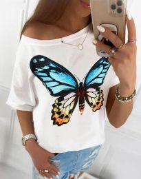 Дамска тениска в бяло с принт - код 1545