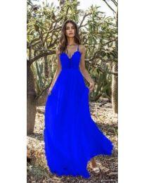 Елегантна синя рокля с дантелено бюстие - 637