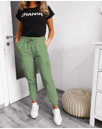 Панталон със странични джобове в зелено - код 3089