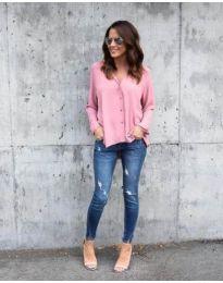 Дамска розова риза с копчета - код 047