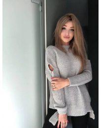 Плетена дамска блуза в сиво - код 715