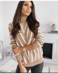 Свободна дамска блуза с поло яка в бежово - код 1060