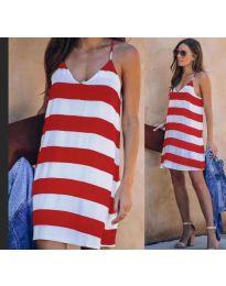 Свободна дамска рокля на райе в бяло и червено - код 1047