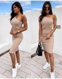 Дамска рокля в бежово с голо рамо - код 0208