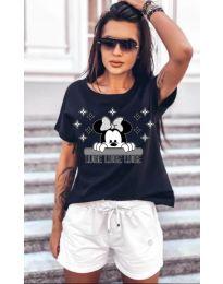 Дамска тениска в черно  код - 5539