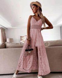 Дамска рокля с дантела в розово - код 2704