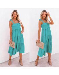 Свободна дамска рокля в цвят мента - код 7791