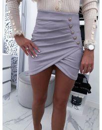 Къса пола с набори и декоративни копчета в светло сиво - код 021
