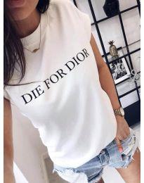 Бяла дамска тениска с принт - код 406
