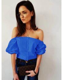 Дамска блуза с паднали къси ръкави в синьо - код 243