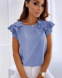 Блуза с къс ръкав с ефектни ръкави в светлосиньо - код 3299