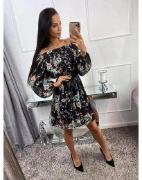 Ефектна рокля на цветя в черен цвят - код 442 - 2