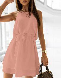 Дамска рокля с колан в цвят пудра- код 9968