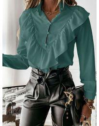 Дамска риза в цвят тюркоаз  - код 9032