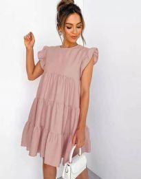Свободна рокля в цвят пудра - код 2666