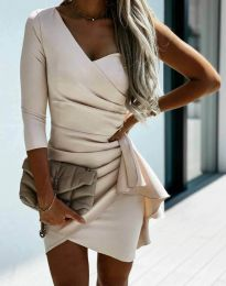 Ефектна дамска рокля  в бежово - код 5543
