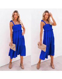 Свободна дамска рокля в тъмно синьо- код 7791