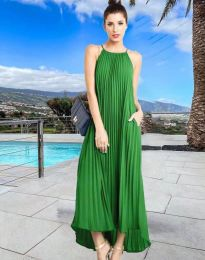Дълга лятна рокля в зелено - код 6999
