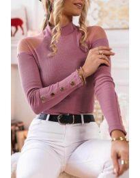 Дамска блуза с ефектни ръкави в розово - код 2771