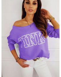 Блуза с принт в лилаво - код 5464