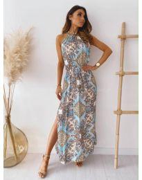 Дълга рокля с атрактивен десен  - код 6038