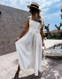 Дълга рокля с ефектен гръб в бяло - код 4806