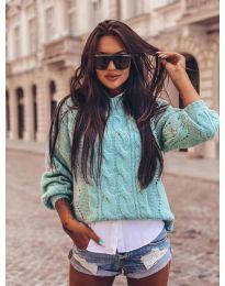 Дамски пуловер в цвят мента - код 8780