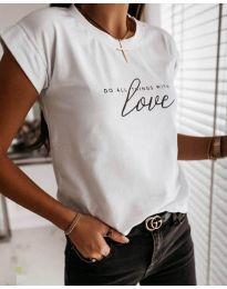 Бяла дамска тениска Love - код 3660