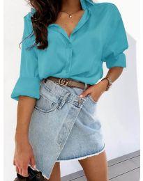 Изчистена дамска риза в цвят тюркоаз - код 4646