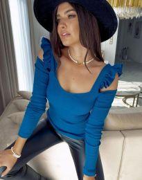 Блуза в синьо с ефектни ръкави - код 2380