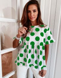Атрактивна дамска блуза със зелени мотиви - код 6181