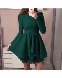 Кокетна рокля с разкроена долна част в зелено - код 279