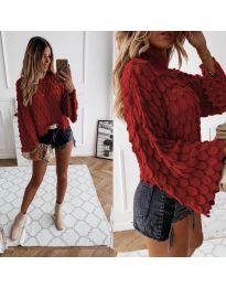 Ефектен дамски пуловер в червено - код 8092
