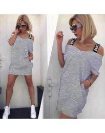 Свободна дамска рокля в сиво - код 6964