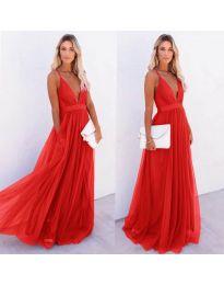 Ефирна дълга рокля в червено - код 5587