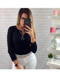 Дамска блуза с дълги ръкави в черен цвят - код 584