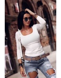 Изчистена блуза с дълги ръкави в бяло - код 126