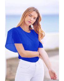 Изчистена дамска тениска с интересен ръкав в синьо - код 527