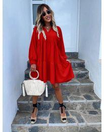 Свободна дамска рокля в червено - код 6643