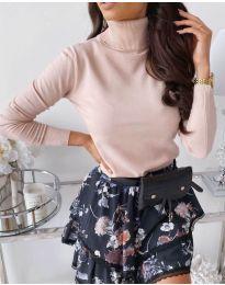 Дамска блуза с поло яка в цвят пудра - код 8861