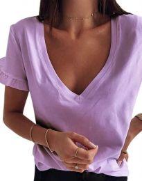 Дамска тениска с ефектни ръкави в лилаво - код 2462