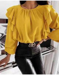 Ефектна дамска блуза в жълто - код 4445