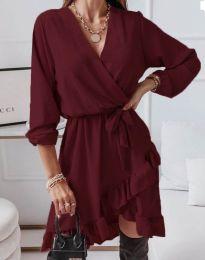 Стилна дамска рокля в цвят бордо - код 5371